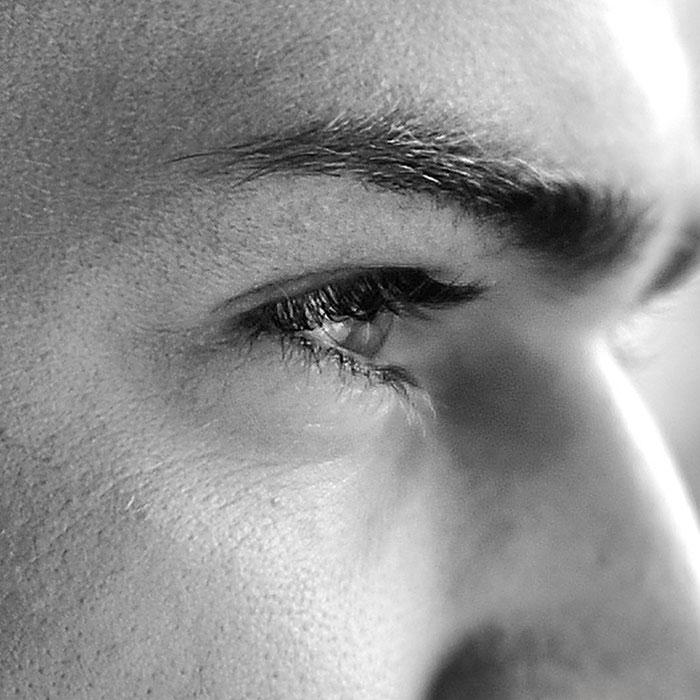 Gesicht mit fokussiertem Blick