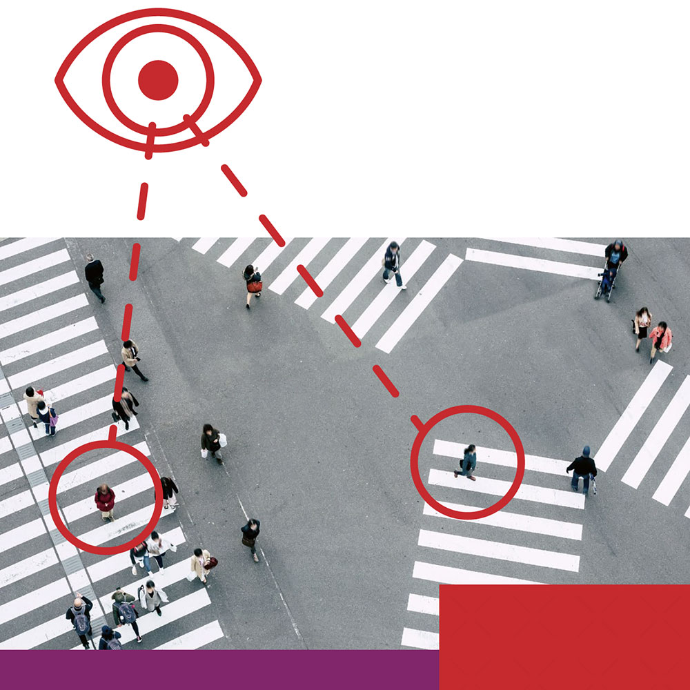 Fußgänger mit Tracing-Grafik