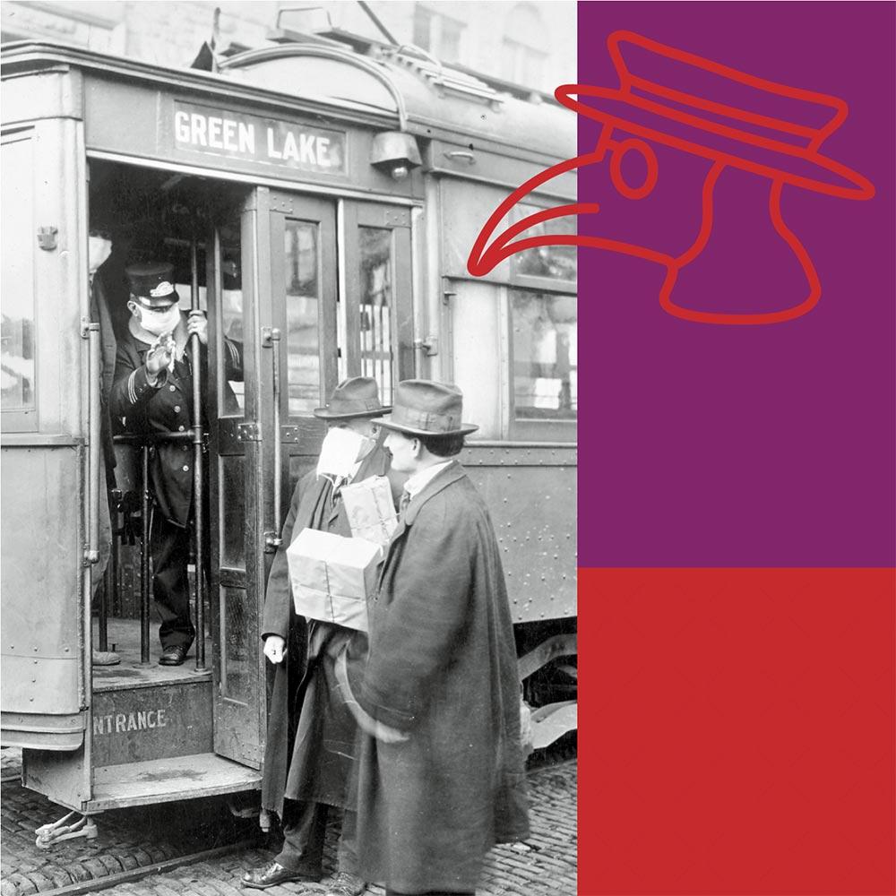 Männer an einer Tram zur Zeit der Spanischen Grippe mit Pestmaskengrafik