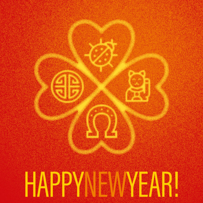 Happy New Year Glückssymbole