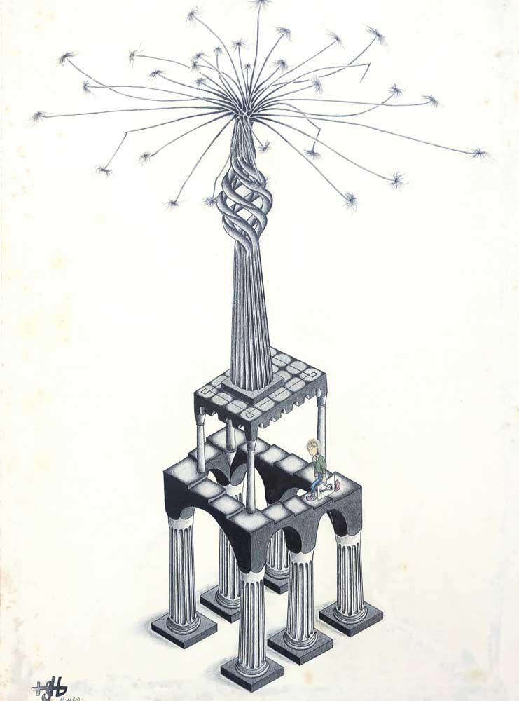 Zeichnung Gödelscher Treppe auf Tempelsäulen