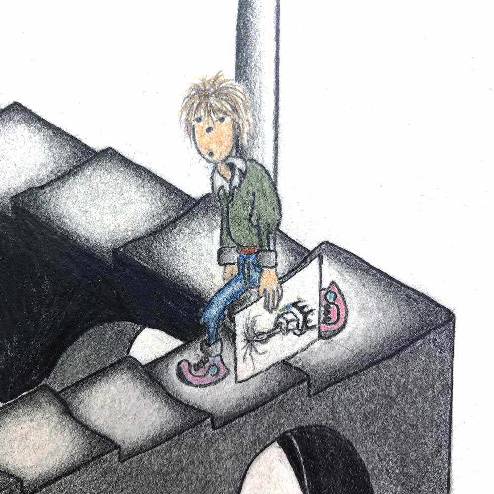 Junge auf Gödelscher Treppe